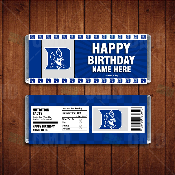 Duke Blue Devils Custom Candy Bar Wrappers Sports Invites