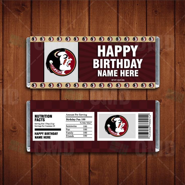 Florida State Seminoles Custom Candy Bar Wrappers Sports Invites