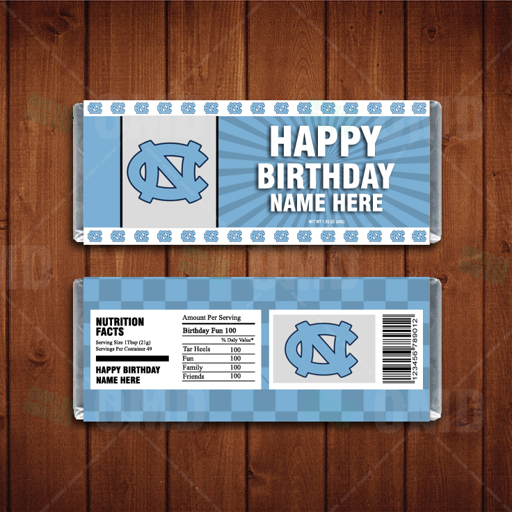 North Carolina Tar Heels Custom Candy Bar Wrappers Sports Invites