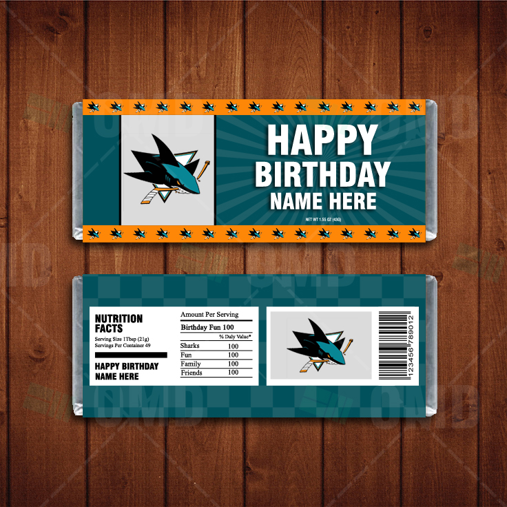 Wrappers San Jose Sharks Custom Candy Bar