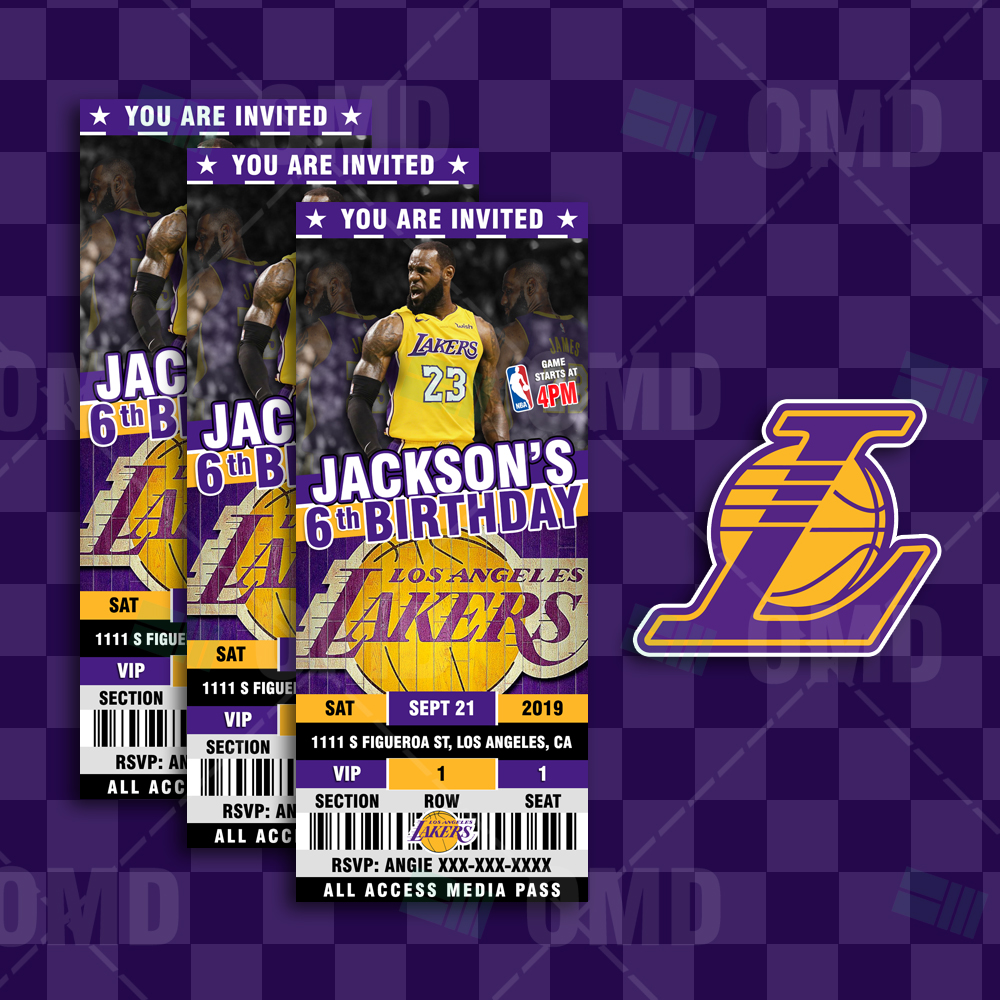 aa443d309 ... Invitations Los Angeles Lakers Ticket Style Sports Party Invites.   