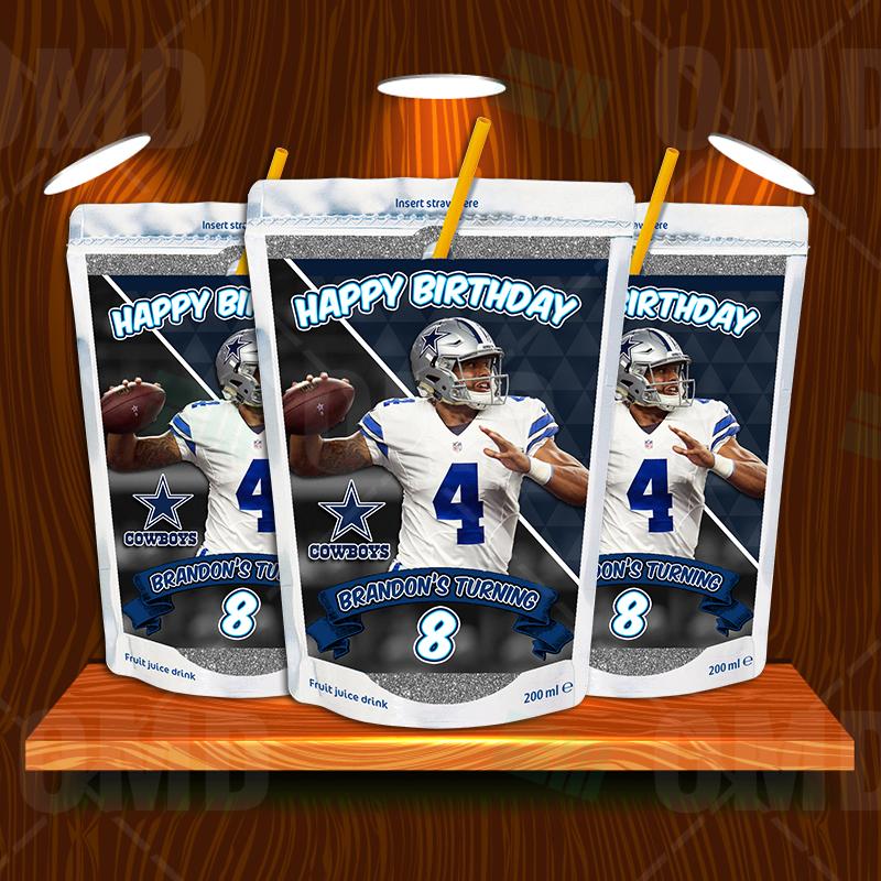 Dallas Cowboys Birthday Party Capri Sun Labels Sports Invites